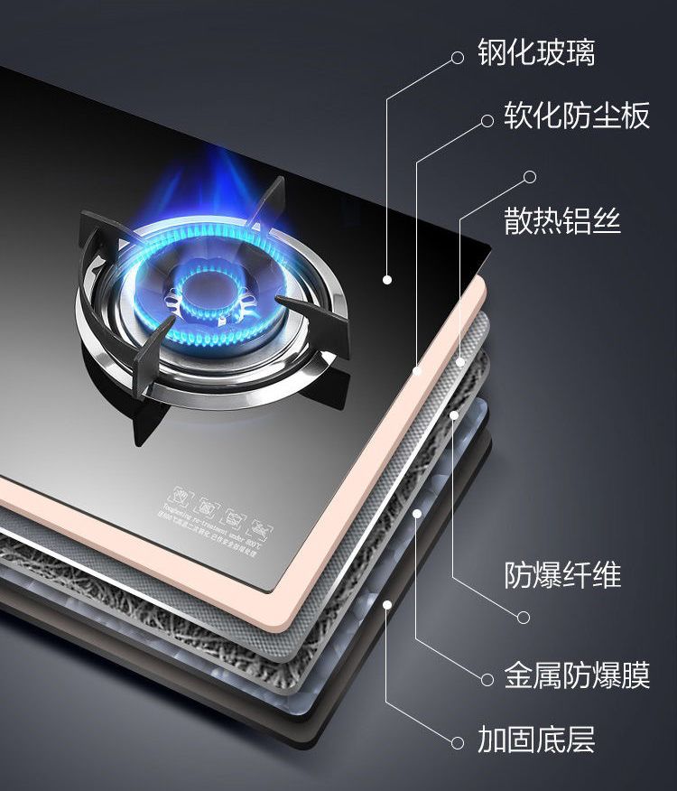 煤气炉燃气灶钢化玻璃面板设计结构不合格,不合理可能造成爆炸
